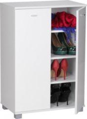 Wohnling Design Schuhschrank TAJA modern Holz Weiß 12 Paar Schuhe 4 Fächer 2 Türen Schuhregal 60 x 118 x 25 cm platzsparend Schuhkommode Flurschrank