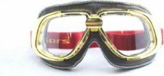 Ediors retro goud, bruin leren motorbril | Helder glas