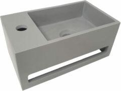 Mueller Solid Surface mat grijze fontein met handdoekhouder links