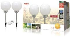 Witte Dutch Flower Lady Ranex 5000.391 Gemini LED Solar Tuinlamp op spies - 2-Pack met afstandsbediening