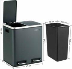 Donkergrijze SONGMICS Afvalemmer voor de keuken, 30L, afvalscheiding, metalen afvalemmer, pedaalemmer met binnenbakken en grepen, afvalscheidingssysteem, 2 x 15 liter, Softclose, luchtdicht, rookgrijs