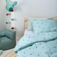 Witte Fresh&Co  Kids Fresh&Co Kids - Junior Kinderdekbedovertrek Mini Stripes - Blauw 120x150 cm - Katoen - Kinderdekbedovertrek met 1 Kussensloop