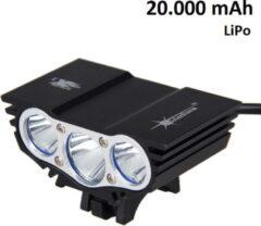 Zwarte SolarStorm X3 USB MTB/race LED koplamp EXTREEM veel licht met 3x CREE T6 LED - met 20.000 mAh LiPo Powerbank