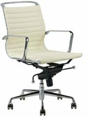 Creme witte Feel Furniture - Luxe design bureaustoel van 100% rundleer - Lage rugleuning - Creme