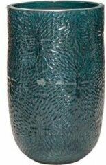Donkerblauwe Ter Steege Hoge Pot Marly Ocean Blue ronde blauwe bloempot voor binnen en buiten 47x70 cm