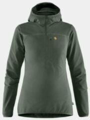 Fjällräven - Women's Bergtagen Stretch Half Zip - Softshelljack maat L, zwart/grijs/olijfgroen