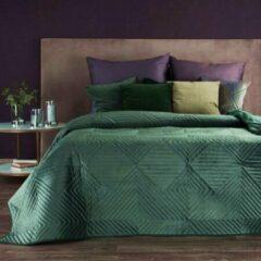 Donkergroene Luxe bed deken Brulo Polyester sprei 220x240 cm Gewicht-260+120+65 GSM donker groen
