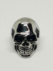 Zilveren RH-Jewelry. Stalen ring heren. Schedel gepolijst maat 22
