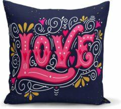 Blauwe Zijou Decoratieve sierkussen pink Love 45x45cm