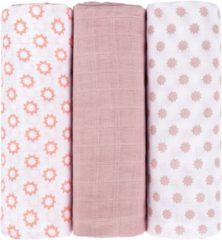 Roze Lässig swaddle & burp doek / hydrofiele luier katoen 3 stuks - stars licht rose L 85x85cm