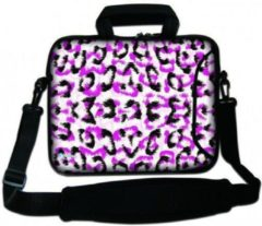 Roze Sleevy 15,6 Laptoptas / laptophoes met voorvak witte panterprint - slanke laptoptas - dunne laptoptas - heren laptoptas - dames laptoptas