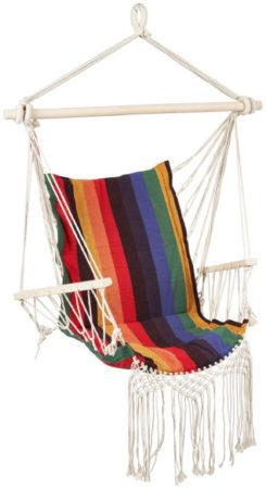 Afbeelding van Rode Barceló Hangstoel met franjes / multi kleur / Ibiza style / macramé / zomer / tuin / 90x95x50 cm