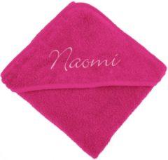 Tiseco Badcape fuchsia met naam | geborduurd | gepersonaliseerd