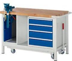 Rau Werkbank Modell 8185, fahrbar, absenkbar, mit Schrank und Schubladen
