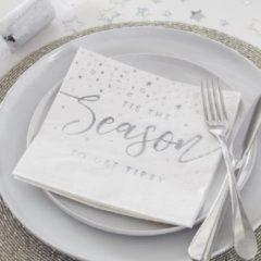 """Zilveren Ginger ray Silver Glitter – Servetten """"Tis The Season To Get Tipsy"""" (16 stuks)"""