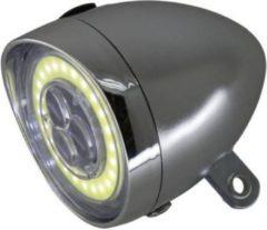 K-parts Fietskoplamp Retro 3 LED met COB ring - Chroom