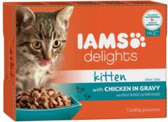 Iams Delights Kitten met Kip in Saus - Kat - Natvoer - 12 x 85 gr