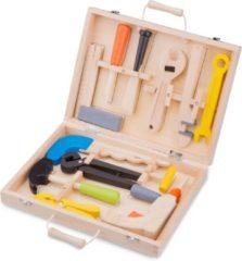 Bruine New Classic Toys houten Gereedschapskist met 12 onderdelen