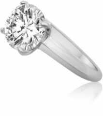 Velini jewels-R5173W-56 -Ring -925 Zilver gerodineerd- Cubic Zirkonia 8MM Center stone