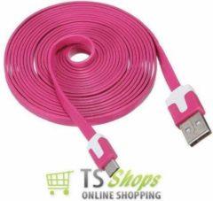 Qatrixx Micro USB Kabel Datacable 3 meter Universeel Fuchsia
