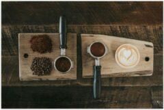 Beige KuijsFotoprint Poster – Gemalen Koffiebonen en Koffie op een Plankje - 90x60cm Foto op Posterpapier
