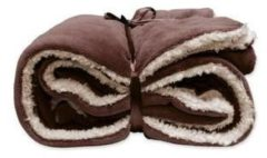 Bruine Woonexpress Unique Living Lars - Fleece - Plaid - 150x200 cm - Mahogany Brown