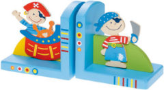 Simply for Kids Piraat - Boekensteun - Blauw - Hout - Set van 2