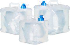 Transparante Relaxdays opvouwbare jerrycans - water jerrycan - watertank - 4 stuks - opvouwbaar - set 10 Liter