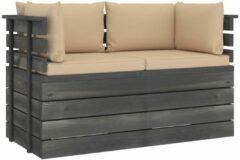 Beige VidaXL Tuinbank 2-zits met kussens pallet massief grenenhout