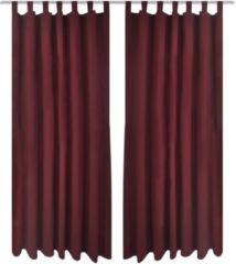 Rode VidaXL Micro - Kant en klaar gordijnen met ringen - Satijn - Wijnrood - 140x245 cm - 2 stuks