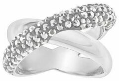 Swarovski Crystaldust Cross Ring, Gray, Palladium plating Gray Rhodium-plated