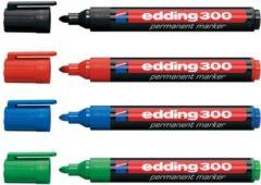 Edding permanent marker 300, blister met 4 stuks in geassorteerde kleuren