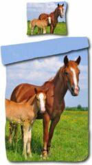 Blauwe Kinder Dekbedovertrek Leuke Kinder Katoen Dekbedovertrek Eenpersoons Paard | 140x200 | Fijn Geweven | Zacht En Ademend