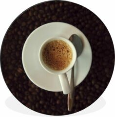 WallCircle Wandcirkel Espresso aluminium - Kopje espresso op koffiebonen - ⌀ 60 cm - rond schilderij - fotoprint op aluminium / dibond / muurcirkel / wooncirkel / tuincirkel (wanddecoratie)
