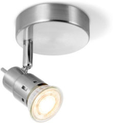 Zilveren Home sweet home LED opbouwspot Cilindro Ø 9,5 cm - mat staal