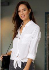 Naturelkleurige LASCANA : lange blouse, geknoopt aan de voorkant