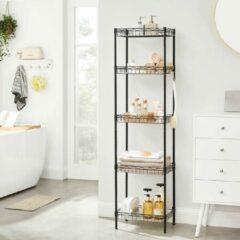 Witte Songmics Keukenrek, metalen rek, staand rek, badkamerrek met 4 haken, PP-platen, verstelbare planken, draadmand, tot 100 kg belastbaar, voor kleine ruimtes, badkamer, zwart LGR105B01