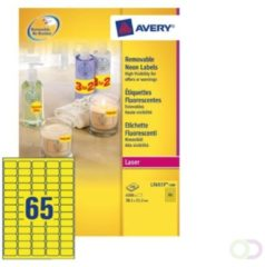 Kyocera Avery Afneembare neon etiketten ft 38,1 x 21,2 mm (b x h), doos van 25 blad, 1.625 stuks, geel