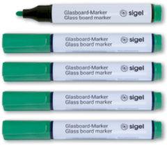 Glasboardmarker Sigel 2-3mm ronde punt 5 stuks in etui groen SI-GL714