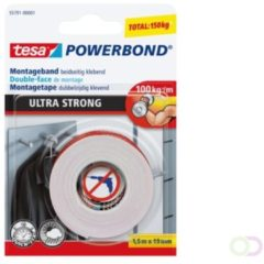 Transparante Tesa 55791 Powerbond Ultra Strong montagetape formaat 1,5 m x 19 mm blisterverpakking