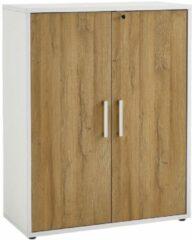 FD Furniture Archiefkast Calvia van 111 cm hoog - wit met oud eiken