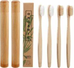 Creme witte Btp Bamboe tandenborstels |Set Van 4 Tandenborstels Plus 2 Bamboe Kokers| Medium soft | Biologisch Afbreekbaar | 2 Wit - 2 Creme|