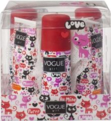 Vogue Girl Geschenkset - Cats 3x Mini Deospray + 3x Mini Douchegel + 2x Puff