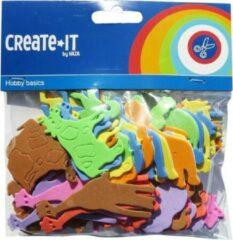 Haza Foam dieren hobby/knutsel materiaal voor kinderen 192x stuks - hobby dieren figuren vormen