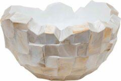 Creme witte Parelmoer Vaas Luxe brede bowl schelpen créme wit parelmoer lage brede bloempot schelpenvaas plantenbak bonsai
