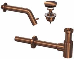 Douche Concurrent Toiletkraan Set Inbouw Muur Rond Koudwaterkraan Mat Rose Goud Inkortbaar met Sifon en Always Open Plug