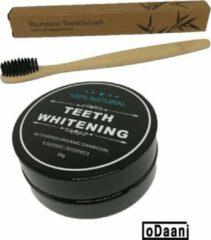Zwarte ODaani Activated Organic Charcoal 30 Gram - Inclusief Bamboe Tandenborstel - Milieuvriendelijk - Recyclebaar