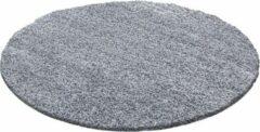 Licht-grijze Flycarpets Candy Shaggy Rond Lichtgrijs Vloerkleed 160 X 160 CM
