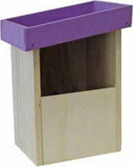 Merkloos / Sans marque 2x Vogelhuisjes/nesthuisjes paars dak van hout 25 cm - Vogelhuisjes tuindecoraties - Roodborstjes nestje