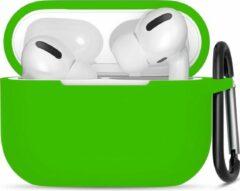 JVS Products Apple Airpods Pro ultra dunne siliconen cover - Hoesje - extra dunne Apple Airpods siliconen cover met sleutelhanger - Lichtgroen